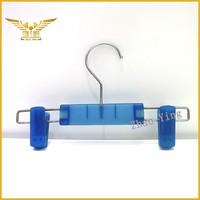 Blue trouser hanger with clip mini strong plastic hanger