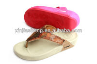 fashion sandals ladies shoes 2014 with sparking upper new model pu slippers