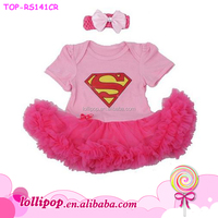 Baby Girl Superman and Inspired Tutu Costume Dress Pink Rompers Jumpsuit With Headband