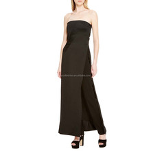unique strapless evening dress sexy with high slit hemline, black maxi dress