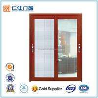 Renshi brand energy saving thermal break aluminum glass sliding interiro door with louver design