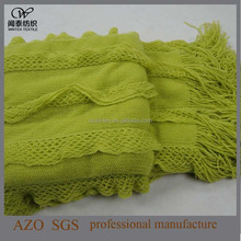 Fashion Made in China Home Textile 2015 New Design Solid Acrylic Ripple Knitted Throw with Double Leaves! !