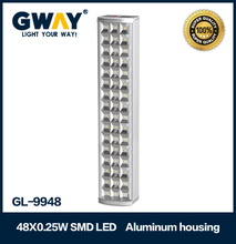 Wall mounted emergency light , 6v 4ah rechargeable batteries,12V DC car charging, solar charging is available