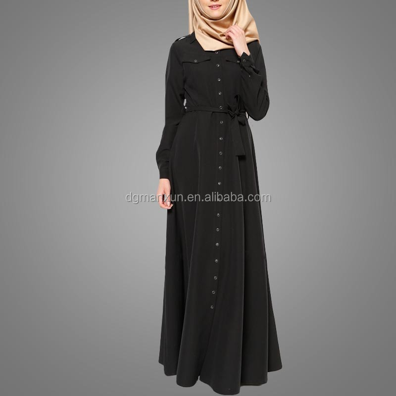 Fashion dubai black abaya new models sexy saudi girls image buttons abaya no see through muslim dre (5).jpg