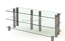 modern design tempered glass and stainless steel tv stand