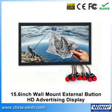 "15.6"" full hd led commercial H.264 Push butotn indoor digital advertising signage video player display"