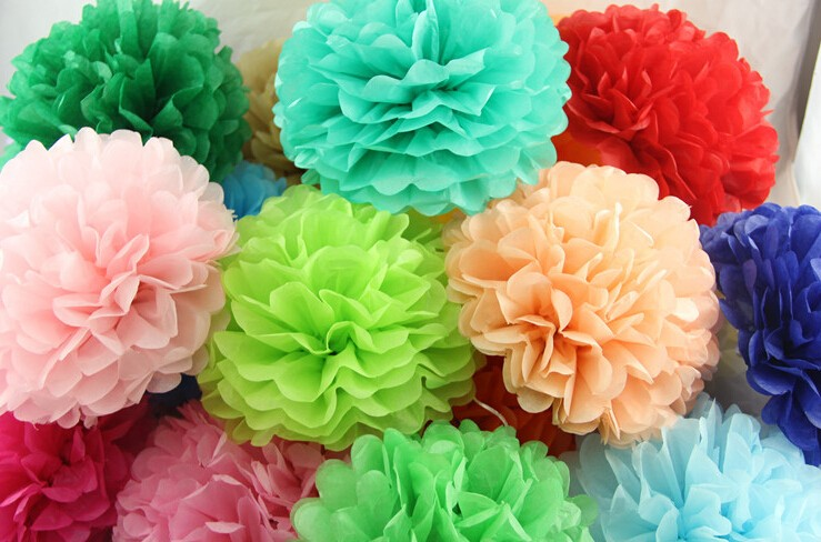Pink round diy tissue paper pompoms flowers balls kids birthday 25g mightylinksfo