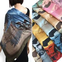 Real print SKULL 110X110CM(42X42inch) square 100% polyester scarves KOREAN F0062