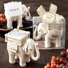 Lucky Elephant Antique Ivory-Finish Tea Light Holder