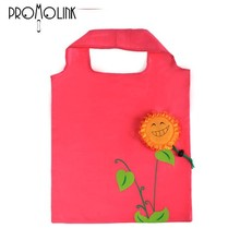 cute sunflower polyester gift drawstring shopping carrying bag oem design