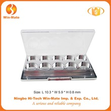 WMC-MY2047B 2015 fashion empty plastic makeup eyeshadow case for women best quality rectangle plastic eyeshadow box