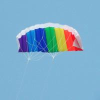 Outdoor Dual Line Stunt Parafoil Parachute Rainbow Sport Beach Kite #48119