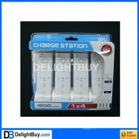 4-Port USB Charging Station + 4x1800mAh Rechargeable Batteries for Wii Remote