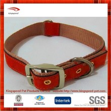 wholesale training Genuine Leather and nylon buckle Dog Collars