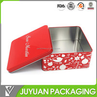 2015 New metallic printed square tin box for cosmetic storage or for food tin packaging
