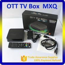 Amlogic s805 quad core android tv box MXQ xbmc fully load with kodi h265 4k ultra hd tv box