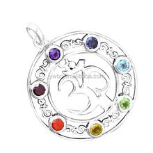 sıcak satış alaşımlı gümüş kaplama om yoga kristaller 7 çakra kolye takılar takı