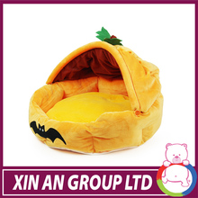 2014 new design yellow pumpkin shape plush dog cat beds for Hallowmas