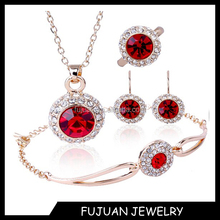 New arrival austria crystal copper 18k gold plated jewelry set of 4