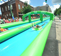 Long dimension green city slide inflatable