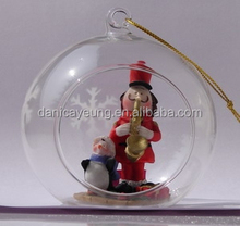 Hand blown hanging clear open glass balls ornaments for christmas home decorations