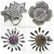 new design fashion colorful blingbling rings hip pop rings for children