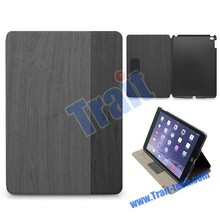 Kajsa Dual-color Wood Texture Flip Stand PC+PU Leather Case for iPad Air 2