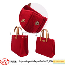 red fashion felt handbag welcome in the European and American markets