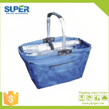 Popular colorful portable one handle beach picnic basket with cooler bag