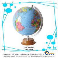 hot sales ! good quality smooth surface earth globe with wooden base as teaching tool or decoration & gifts