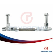 PQY STORE-AN8 -8AN Silver Dual Feed Fuel Line Dual Feed Carb Fuel Line Kit PQY-QT43