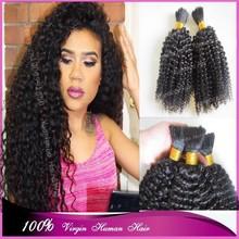 "Best 7A quality 8""-30"" #1b full looking kinky curl virgin mongolian no attachment hair bulk extensions"