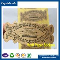 Personalized roll brown logo customized round kraft paper sticker
