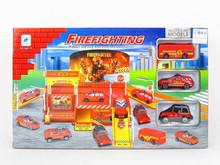 Hot sale alloy toy car garage, DIY fire engine parking lot toys with ASTM, EN71