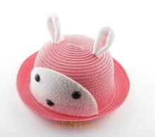 funny cute kids children rabbit animal paper straw hat caps hair accessories