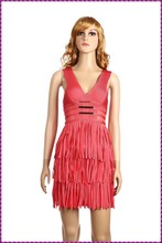 wholesale party evening slim fit sexy v neck tassel evening dress red short