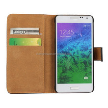 alibaba wholesale bracket holster filp PU leather phone case cover for samsung galaxy alpha g850