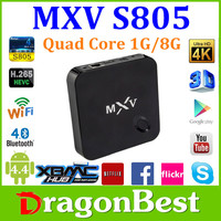 Wholesale android smart tv set top box MXV S805 android tv box quad core 1gb ram 2gb rom