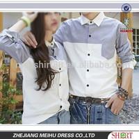 Latest design couple shirt oxford fabric women blouse and man shirt