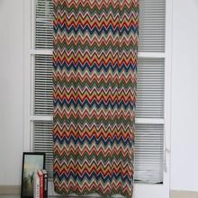 Creative wave pattern woven linen mixed printed fabric curtain drape
