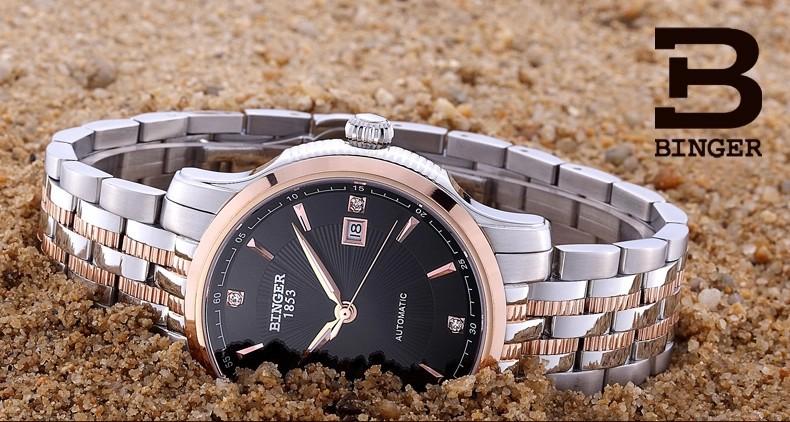 2016 Binger Наручные Часы новый дизайн мужская роскошный модный бренд часы мужские кожаные высокого класса автоматическая дата розовое золото часы