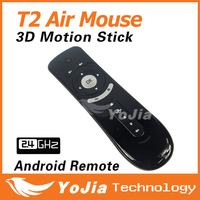 Original Gyroscope Mini Fly Air Mouse T2 2.4G Wireless Keyboard Mouse 3D Sense Motion Stick for Android media player