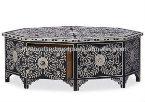Indian Moroccan Style Camel Bone Inlay Coffee Table With Drawers Furniture Bone Mother Of