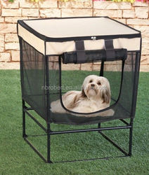 Elevated Portable Outdoor Mesh Pet House with travel carry case