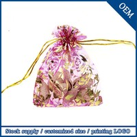 Wholesale 7x9cm Promotion Rose Printed Organza Bag,Bronzing Organza Pouches For Jewelry