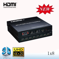 2015 new Subwoofer output 1x8 hdmi audio amplifier splitter with heavy bass & speaker output