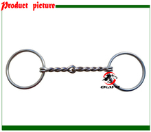 SS ring snaffle bit,single wire twisted jointed mouth,horse product.(BT0507)