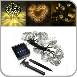 Solar Powered Fairy String Lights Silver metal heart shaped Outdoor Lights for Christmas Wedding (JL-7533B)
