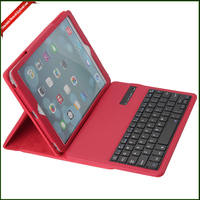 OEM manufacture for ipad air pu leather case with belt and bluetooth keyboard