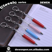 mini compact delicate metal pen novelty pen crystal with keychain pen